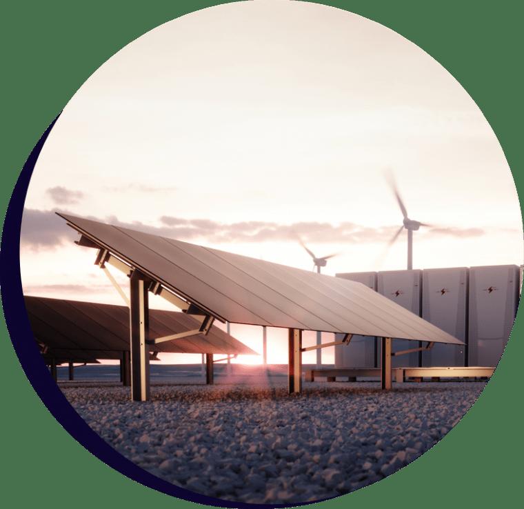 Solar panels, battery storage units and wind turbines