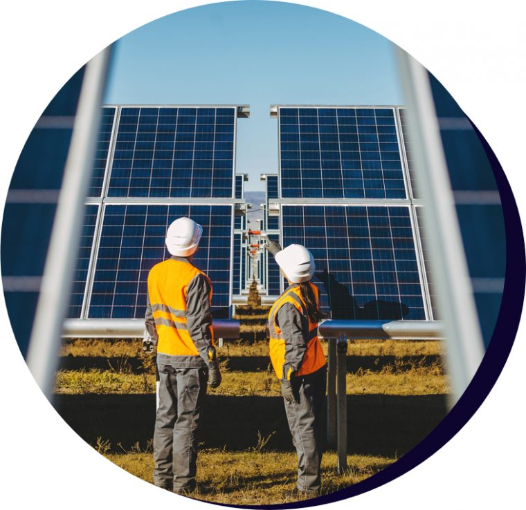 Solar farm with two workers discussing a solar panel.